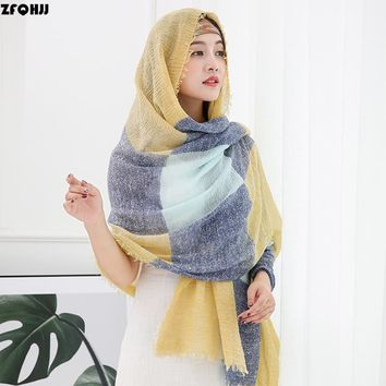 ZFQHJJ Women Cotton Linen Scarf Hijab fringes Tassels Muslim Hijabs Turkish Wrinkle Crinkle Shawls Wraps Large Long Pashmina