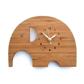Geoometric Elephant Genuine Bamboo Wood Wall Clocks Home Decor