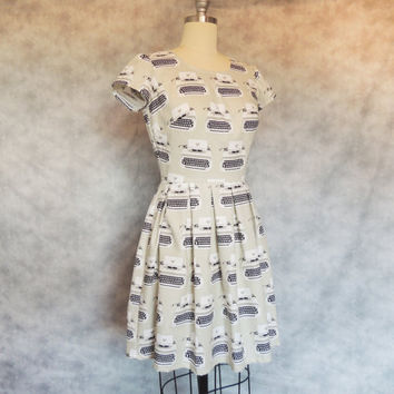 Typewriter Dress - Nerdy, Geeky, Quirky, Cute, Vintage Inspired, Retro, Women's Dress