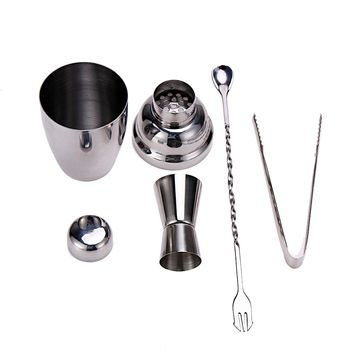 4pcs 250ML Stainless Steel Silver Cocktail/Whisky Shaker Wine Jigger Tool Kit Bar Wine Making Tool Set FREE POST