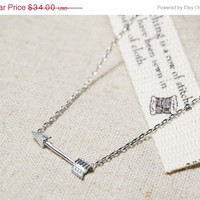 ON SALE Hello February Arrow Necklace- Sideways Arrow Necklace- Small Arrow Necklace- Arrow Charm- Valentines Giftt - SHIPS in 1-2 Weeks