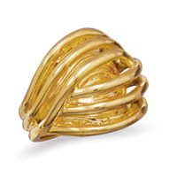 14 Karat Gold Plated Brass Domed Open Design Ring