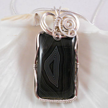 Wire Wrapped Handmade Jewelry, Black Banded Agate