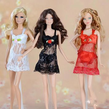 1set Sexy Pajamas Lingerie Lace Costumes + Bra + Underwear Clothes For Barbie Doll Clothes Gown Underwear Lace Dress