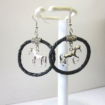Western Jewelry Horse Earrings Silver Cowgirl Bling