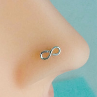Infinity Nose Ring, Nose Stud, Sterling Silver, Helix, Tragus, Cartilage, Earring
