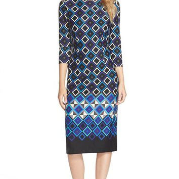 Women's Eliza J Print Ponte Midi Dress,