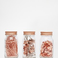 Paperchase Get Organised Set of 3 Copper Clip & Pin Jars at asos.com