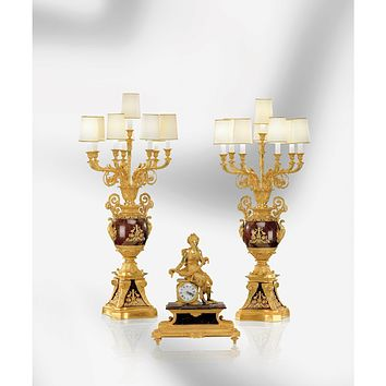 LIONS & AMOUR FLOWERS CANDELABRA WITH 8 LIGHTS
