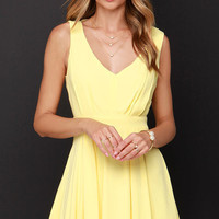 Yellow Pleated V-Neck Mini Dress