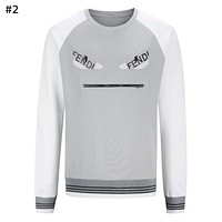 Fendi tide brand men's little monster wild plus velvet warm fashion round neck pullover sweater #2