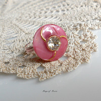 Ring Pink and Gold Vintage Schwanda Glass Button Wire-Wrapped Ring sith Moonglow Finish...can be custom made