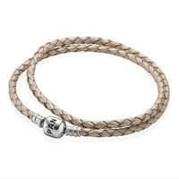 PANDORA Champagne Braided Double Leather Bracelet