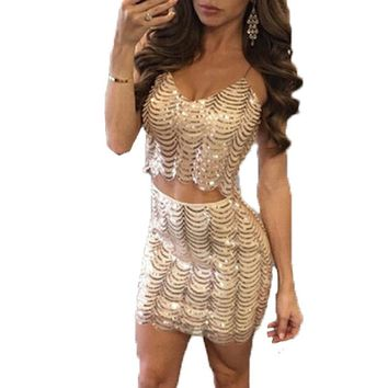 Skirt Suits Women Sexy Club Party Two Piece Sets New 2018 Summer Sequins Beaded Vest And Elastic Waistband Mini Skrit 2 Pcs Set
