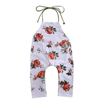 Fashion Summer Toddler Baby Flower Romper Sleeveless Lace up Jumpsuit outfits