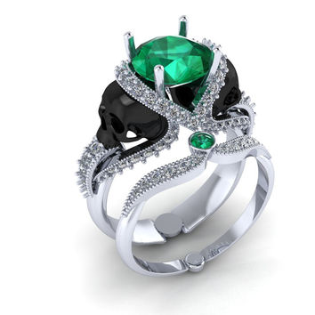 Skull Engagement Ring 10 k Gold with Green Emerald