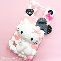 Charmy Kitty Kawaii silicone Decoden phone case for IPhone 4S, iPhone 5 5s 5c 6 6 plus or Samsung Galaxy s3 s4 s5 and more