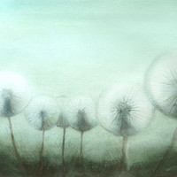 Magical Dandelion - Original  Watercolor Painting World of Dandelions - Fine Art - Aquarelle 14 x 11 inches