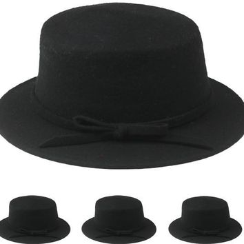 Black Wool Winter Bucket Hat - CASE OF 12