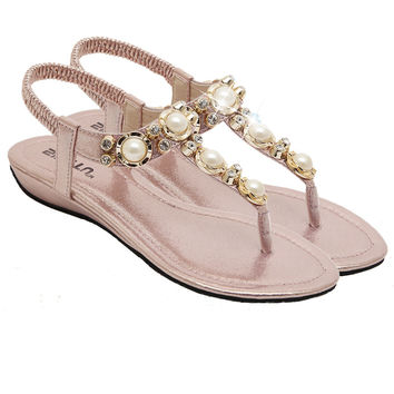 Boho shoes pearl crystal sandals beach low heel Flip flops