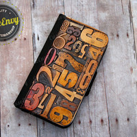 Vintage Letterpress Numbers - iPhone 5 / 5s Wallet case