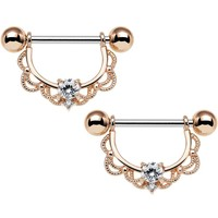 """14 Gauge 5/8"""" Clear CZ Rose Gold Plated Scalloped Dangle Nipple Ring Set"""