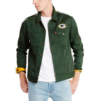 Men's Green Bay Packers Levi's Green Twill Trucker Button-Up Jacket