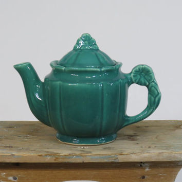 Shawnee Rosette Tea Pot Green 1940s USA Pottery