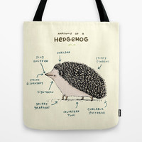 Anatomy of a Hedgehog Tote Bag by Sophie Corrigan