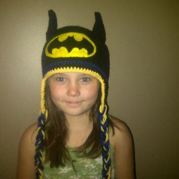 Batman Dark Knight gift Christmas free shipping,Crochet for Children's Cartoon batman Hat,baby Photography prop 100% cotton - Black and yellow AT_71_6