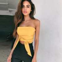 Fashion Solid Color Back Zip Strapless Bandage Sleeveless Crop Tops
