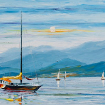 "Seascape Paintings Ocean Art On Canvas by Leonid Afremov - Blue Calm. Size: 40"" X 24"" Inches (100 cm x 60 cm)"