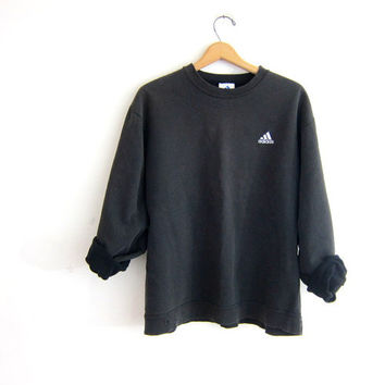 vintage washed out black Adidas sweatshirt. slouchy sweater. boyfriend pullover. basic sweatshirt