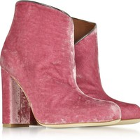 Malone Souliers Eula Pink and Charcoal Velvet Ankle Boots