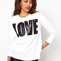 River Island Leather Look Love Sweat
