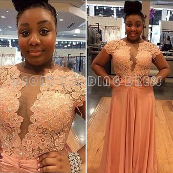 Sexy Orange Lace Plus Size Prom Dresses 2016 Beaded Appliques Cap Sleeve Chiffon Prom Dresses Plus Size Girls Party Gowns PL04