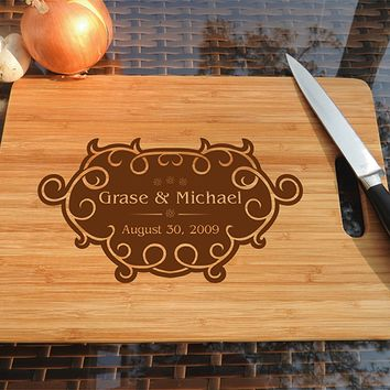 ikb475 Personalized Cutting Board Wood wedding gift anniversary date names wooden wedding