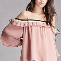 Open-Shoulder Satin-Lined Top