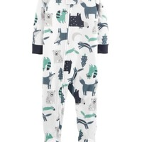 1-Piece Woodland Creatures Fleece PJs