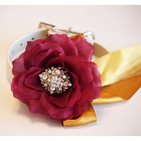 Marsala and Gold Floral dog collar, Pet Marsala Wedding accessory
