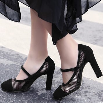 Summer Leather High Heel Hollow Out Korean Shoes [4920624708]