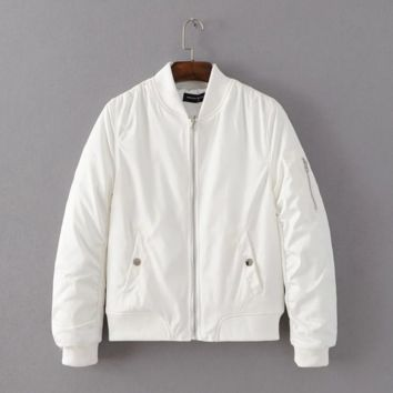 The new coat collar jacket zipper short coat White