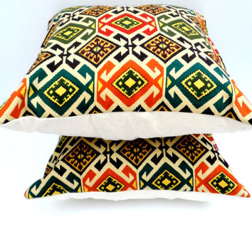 Stunning Aztec Geomertic Print Slipcovers, Modern Home Decor, 14X14, Shabby Chic, Trendy Pillows, Orange, Teal, Purple,  Fall Inspired Home