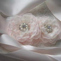 Light Blush Pink Satin Wedding Sash with Blush Pink and Ivory Chiffon Flowers and Pearl and Rhinestone Accents Bridal Sash Wedding
