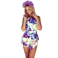 Moxeay® Floral Printing Jumpsuit Short Pants Purple(Size 0/2/4/6/8)