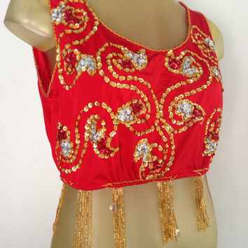Sequined Red Crop top Gold Beaded Fringe. Burlesque Bellydancing dazzling vintage costume piece swirling beaded tank top midriff shirt