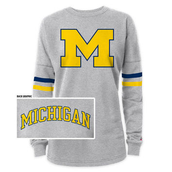 SEARCH League Outfitters University of Michigan Ladies Gray Rah Rah Sweatshirt