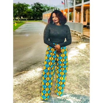 Roo High Waisted African Print Wide Leg Dress Pants
