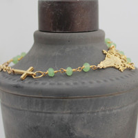 Sideways Cross Rosary Bracelet - 18K Gold Vermeil, Mint Green, Miraculous Virgin