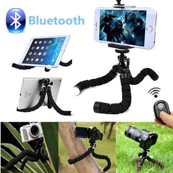 Universal Compact Wireless Bluetooth Tripod Mount Remote Control Flexible Octopus Stand for Selfie Stick Phone Camera